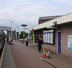 Falkirk Grahamston railway station - The eastbound platform at Falkirk Grahamston railway station, looking westward