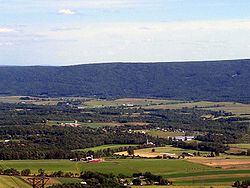 Farms and woodlands in Washington Township with the second-growth Tiadaghton State Forest on South White Deer Ridge behind.