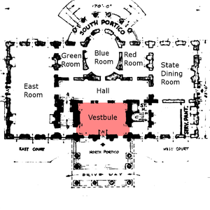 Vestibule (architecture) - Vestibule of the White House residence shown in red