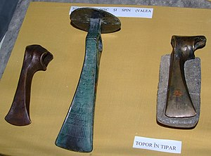 Wietenberg culture - Wietenberg culture battle axes found at Valea Chioarului, Maramureş County, Romania. In display at the National Museum of Transylvanian History, Cluj-Napoca