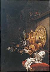 Still life with pewter canteen, gilt ewers and gilt silver plate