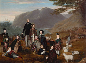 Gaels - The Emigrants, painting from 1844. This depicts a Highland Scots family in Gaelic dress migrating to New Zealand.
