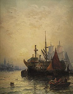 William Anslow Thornley - Shipping on the Medway.jpg