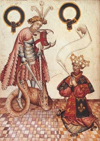 Garter Principal King of Arms - An illuminated manuscript from around 1430 showing William Bruges, the first Garter King of Arms, kneeling before St George. He was appointed in 1415 or 1417.