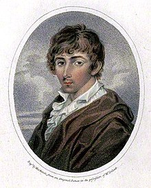 Half-portrait of a young man in a loose brown coat and a white ruffle shirt. The man has brown toussled hair and is depicted with his left shoulder facing the viewer and his face turned towards the viewer. He is depicted in front of a cloudy sky and the image is set in an oval frame.