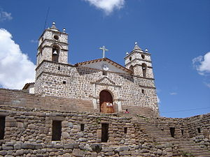 Ayacucho - Cathedral of Vilcashuaman, built on the remains of an Inca temple.