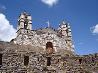 Ayacucho - Cathedral of Vilcashuaman, built on the remains of an Inca temple located in a town near Ayacucho.