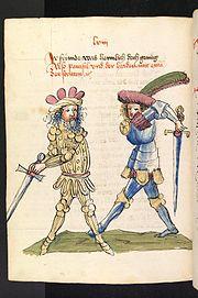 Zweikampf zwischen Parzival und dem Heiden Feirefiz (UB Heidelberg, Cod. Pal. germ. 339, I. Buch, Blatt 540v.)