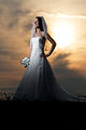 Woman in a wedding dress in front of the early afternoon sun.jpg