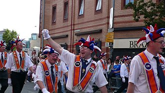 Parades in Northern Ireland - Members of the Orange Institution on the return leg of 12 July parade in Belfast