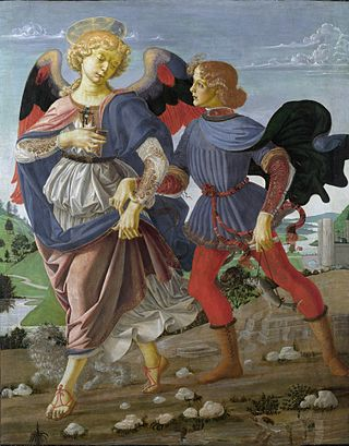 Workshop of Andrea del Verrocchio. Tobias and the Angel. 33x26cm. 1470-75. NG London.jpg
