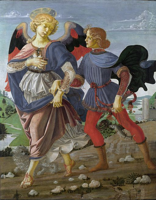 Workshop of Andrea del Verrocchio. Tobias and the Angel. 33x26cm. 1470-75. NG London