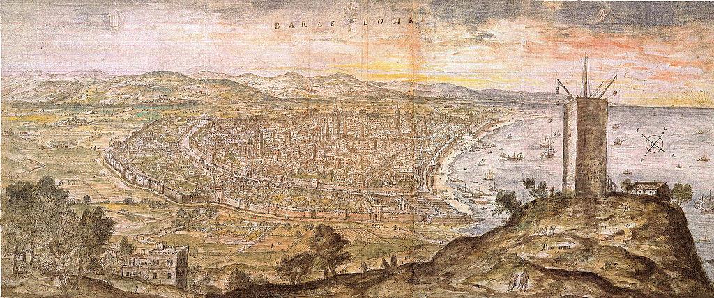 Vue sur Barcelone en 1563 depuis la colline de Montjuic. Tableau de Wyngaerde.