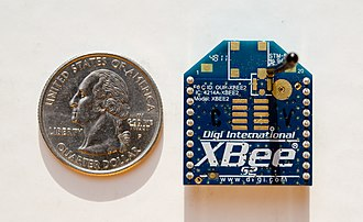 XBee - Image: X Bee Series 2 with Whip Antenna, with US Quarter