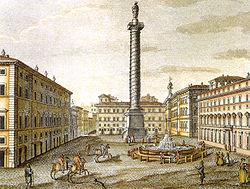 XIX century print, Piazza colonna, roma.jpg