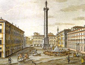 Fontana di Piazza Colonna - 19th century print of the fountain in the Piazza Colonna