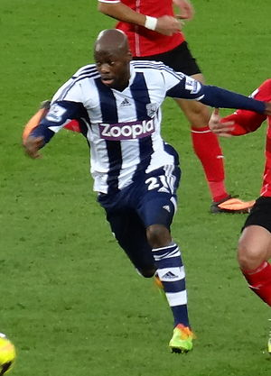ZPG plc - Footballer Youssouf Mulumbu wearing a West Bromwich Albion shirt endorsed by Zoopla in 2013