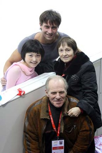 Team physician - Russian team physician Victor Anikanov with Russian pairs figure skating coach Tamara Moskvina, and pairs skaters Alexander Smirnov and Yuko Kavaguti at the 2007–2008 Grand Prix of Figure Skating Final in Turin, Italy.