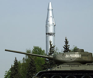 R-9 Desna - R-9 ICBM and T-34 tank, on display at the Central Armed Forces Museum (Russia)