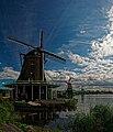 Zaandijk - Zaanse Schans - Kalverringdijk - ICE Photocompilation Viewing SSE towards Oil Mill 'De Zoeker' 1672, Paint Mill 'De Kat' 1782 & Saw Mill 'De Gekroonde Poelenburg' 1869.jpg