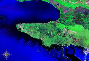 Zapata Peninsula - Zapata Peninsula seen from space (false color)