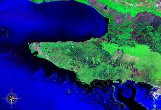 Zapata Peninsula - Zapata Peninsula seen from space (false color)