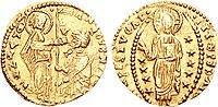 Zecchino aus der Zeit des Dogen Antonio Venier von 1382