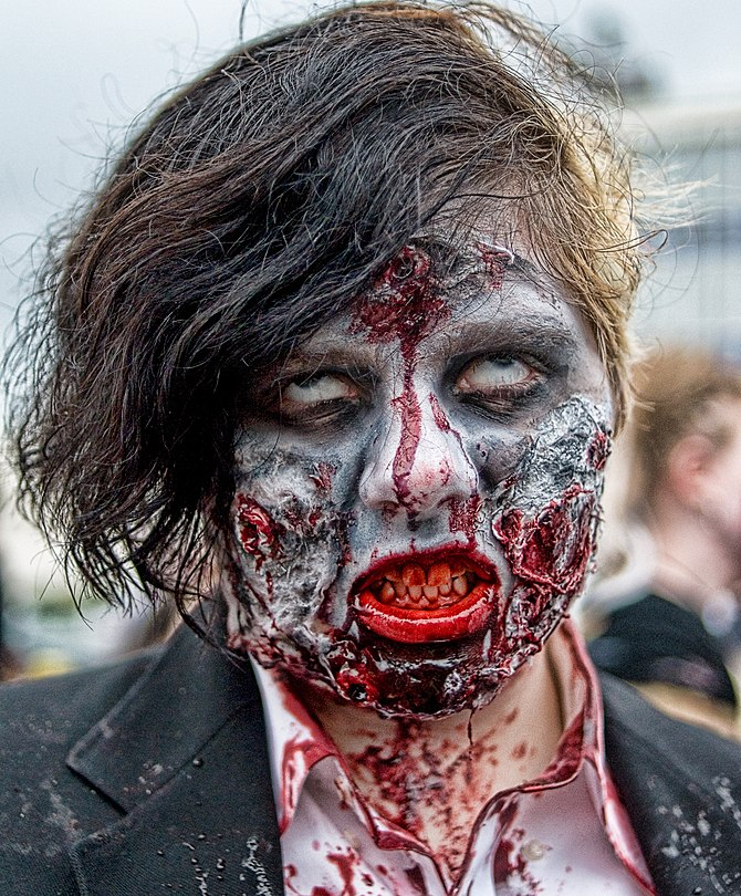 English: A participant of a Zombie walk, Asbur...