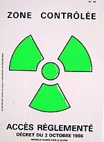 Zone d'accès contrôlé en raison du risque d'irradiation ou de contamination.