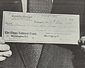 """$10,000 Check """"No. 481"""" to """"American National Red Cross"""" on """"18th June 1953"""" """"BURMESE EMBASSY"""" """"NON-CONSULAR ACCOUNT"""" """"2228 Massachusetts Avenue N. W. Washington, D. C."""" from- Burma's Gift to U.S. Flood Areas - NARA - 5729922 (cropped).jpg"""