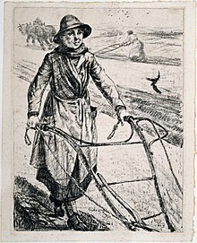 'On the land - ploughing', Archibald Standish-Hartrick, 1917 (18172517112).jpg