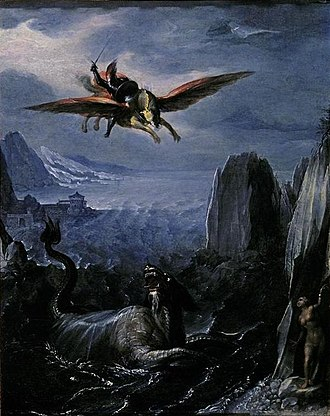 Girolamo da Carpi - 'Ruggiero Saving Angelica', tempera on wood, attributed to Girolamo da Carpi, El Paso Museum of Art