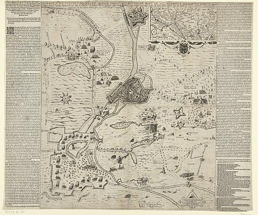 's-Hertogenbosch tevergeefs belegerd door Maurits, 1603 Genuina et syncera delineatio obsessae urbis Busciducen prout ea Ao. 1603 (titel op object) Oprechte en grondelijcke Afconterfeytinghe der belegerde Stadt van t'S, RP-P-OB-80.655