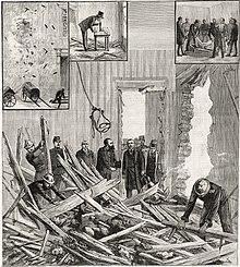 Tapa del periódicoLe Progrès Ilustrésobre el atentado de Émile Henry en larue des Bons-Enfants.