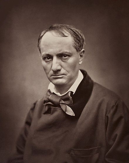 Portrait of Charles Baudelaire (c. 1862), whose writing was a precursor of the symbolist style Etienne Carjat, Portrait of Charles Baudelaire, circa 1862.jpg