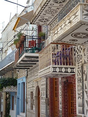 Chios - Buildings in Pyrgi covered with sgraffito (local name:Xistà)