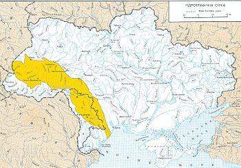 Басейн Дністра на гідрографічній мапі України та Молдови 2906239c23069