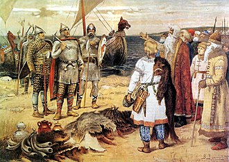 Rus' people - The Invitation of the Varangians by Viktor Vasnetsov: Rurik and his brothers Sineus and Truvor arrive to the lands of Ilmen Slavs.