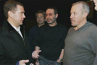 Mashina Vremeni - Mashina Vremeni meet then-Russian president Dmitry Medvedev in 2008. L-R: Medvedev, Yefremov, Margulis, Makarevich