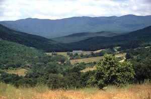 Sredna Gora - A view of Sredna Gora from the Thracian tomb near Starosel