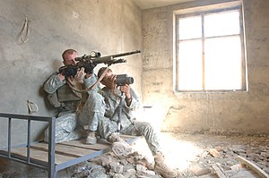 U.S. Army sniper team in Afghanistan with M24 SWS, 19 October 2006 (U.S. Army photo)