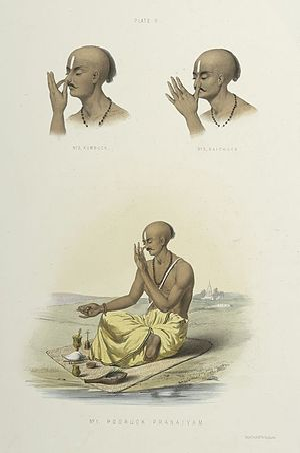 Kumbhaka - Image: 1. Pooruck Pranaiyam Puraka pranayama . 2. Kumbuck Kumbhaka . 3. Raichuck Recaka