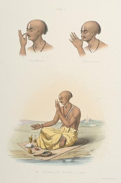 File:1. Pooruck Pranaiyam -Puraka pranayama-. 2. Kumbuck -Kumbhaka-. 3. Raichuck -Recaka-..jpg