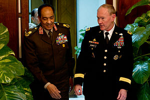 Mohamed Hussein Tantawi - Field Marshal Tantawi with U.S. Army General Martin Dempsey, Chairman of the Joint Chiefs of Staff, on 11 February 2012.