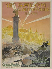 "Reproduction of a French poster. The background image is of a large building. There is an obelisk with a bronze statue of a horse in the middle ground. The foreground shows a number of automobiles with their drivers and passengers. At the bottom of the poster there is some additional text: ""du 3 au 18 Decembre 1910"" and ""Grand Palais (Champs Elysees) Paris""."