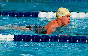 Swimming at the 1996 Summer Paralympics - An unidentified Australian swimmer at the 1996 Atlanta Paralympic Games
