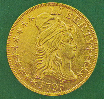 A Turban Head eagle, one of the first gold coins minted under the Coinage Act of 1792 1795 eagle obverse 1.jpg