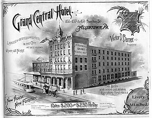 Hess's - Advertisement for the Grand Central Hotel, about 1890