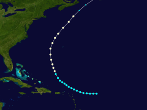 1892 Atlantic hurricane season - Image: 1892 Atlantic hurricane 2 track