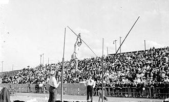 Athletics at the 1904 Summer Olympics – Men's pole vault - Charles Dvorak in action on the way to his gold medal.